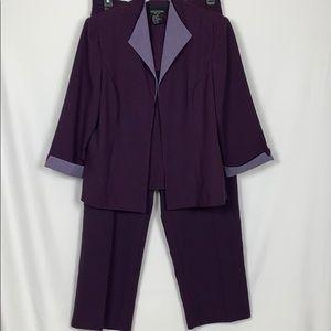 Perceptions 2pc. Purple pants/jacket set size 16